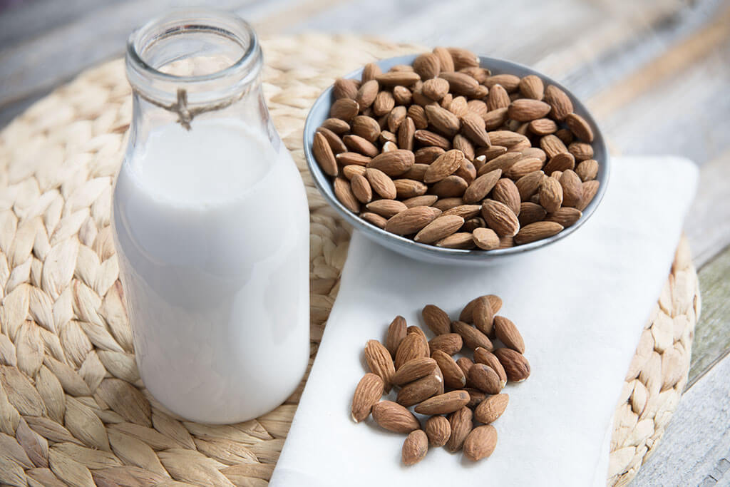 Almond milk and almond bowl