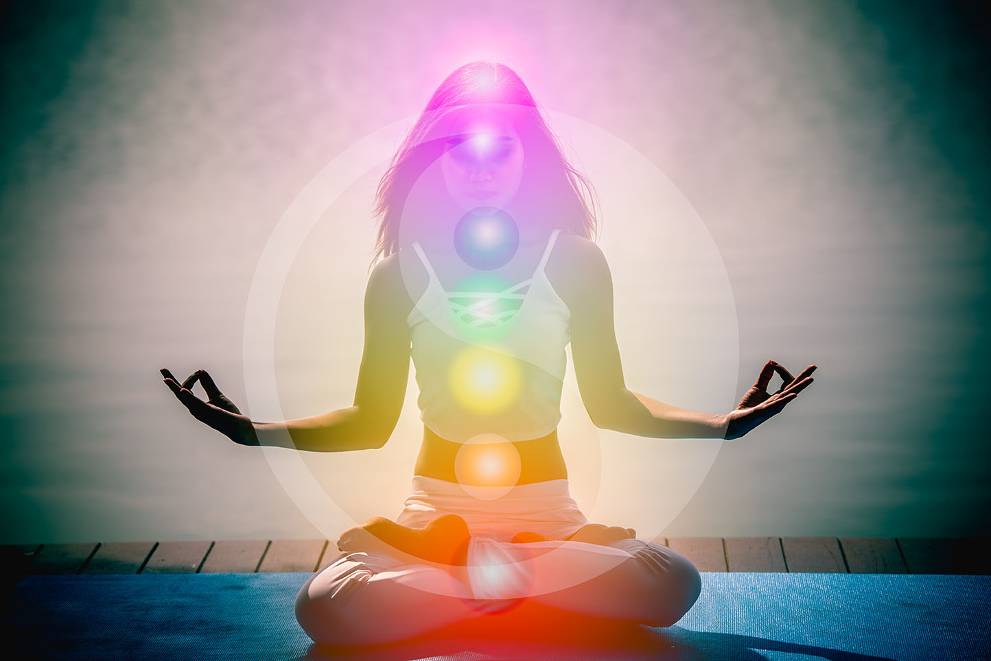 Ultradian Rhythm, girl on meditation and the seven chakras
